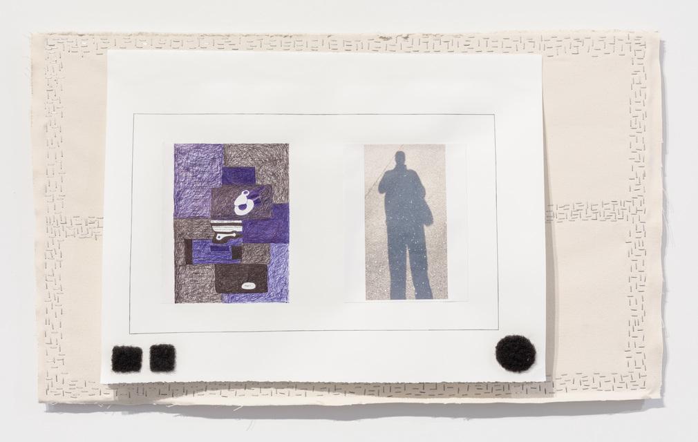 26 1/4 x 43 3/4 x 2''; Paper, Pencil, Pen, Photograph, Artist's Hair, Canvas, Staples, Glue; 2017