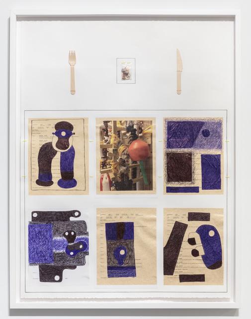 39 1/2 x 30''; Wood, Wire, Thread, Plastic Bag, Button, Fingernails, Lint, Lucy Fradkin's Hair, Photograph, Pen, Pencil, Ink; 2018