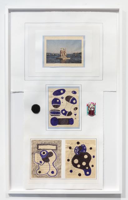 50 x 30 x 1/2''; Pen, Pencil, Ink, Glue, Paper, Photograph, Artist's Hair; 2018