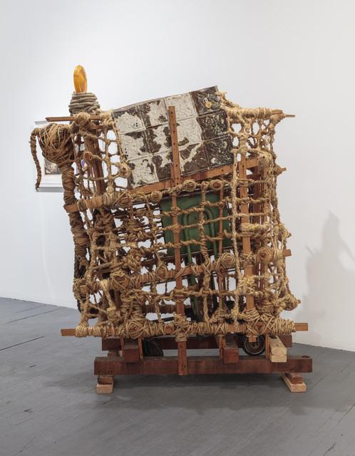 """77 ½ x 65 x 39""""; Rope, Wood, Glue, Metal, Screws, Wheel Cart, Plastic;1993"""