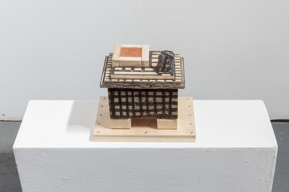 10 1/2 x 11 3/4 x 8 1/4''; Red Clay, Pencil, Wire, Stone, Wood, Glue, Screws; 2018