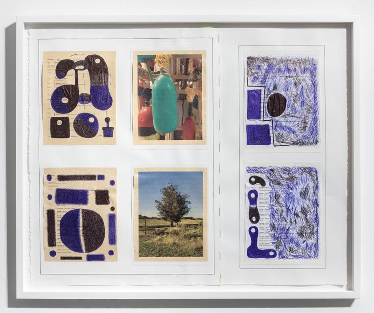 30 x 37 1/2''; Photographs, Pen, Pencil, Ink, Paper, Glue, Thread; 2018