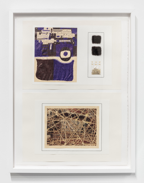 30 x 22 3/4 x 1''; Artist's Hair, Fingernails, Plastic, Thread, Pen, Pencil, Glue, Paper; 2018