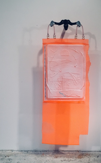 Handled Sunset, neoprene, vacuum formed plastic, spray paint, polymer, zip ties, and handles on a foldable wall mount