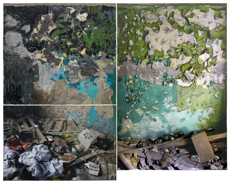 When Our Walls Were Green It Was All Different, 67 x 84.5 in, acrylic, gouache, cement, archival ink jet and lace on canvas, 2019