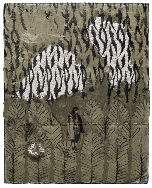 Waiting for Godot (or Hadas) at the End of the Black Field, 20 x 16 inches, acrylic, marker, cement and lace, 2020