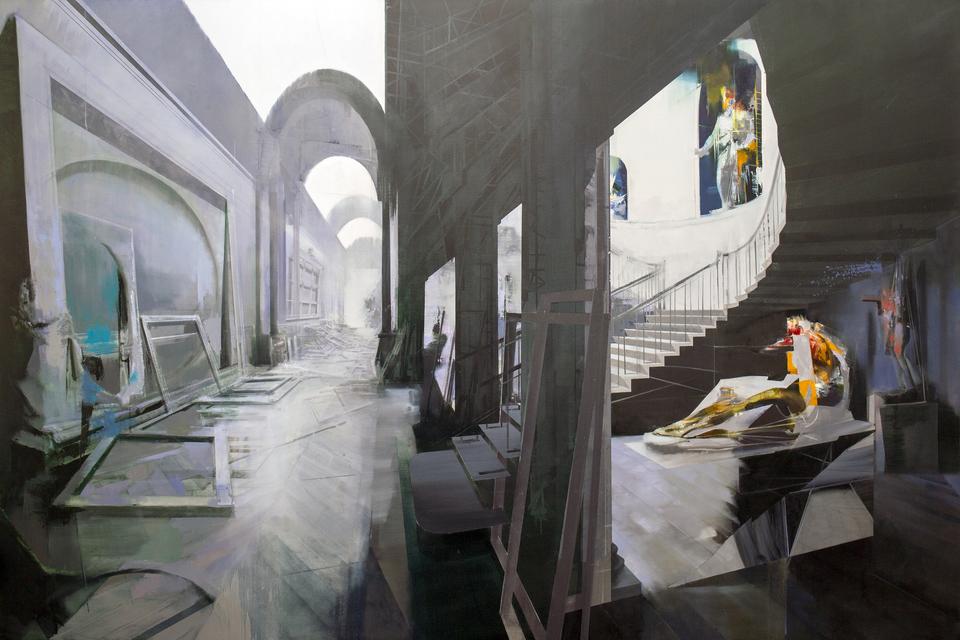 Ambush, 2020, oil on canvas, 118 x 80 in