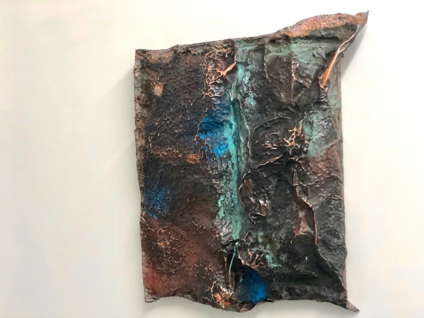 SP1, 31 x 29 x 6 in, hand hammered copper, 2020