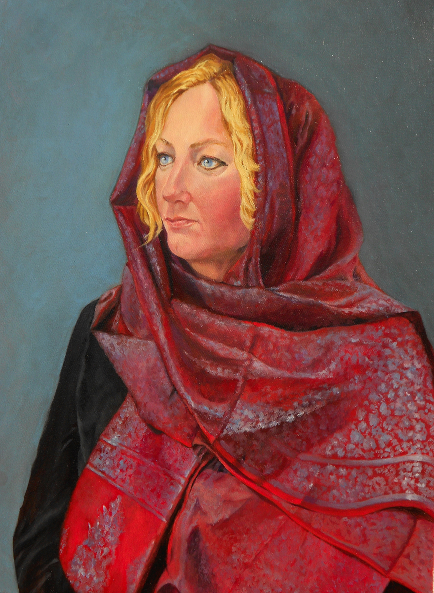 Portrait of Young Woman in silk scarf