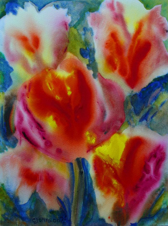 Watercolor of Tulips
