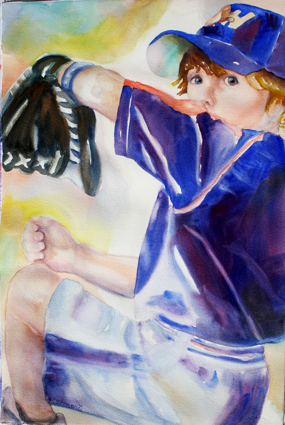 Watercolor of young boy pretending to pitch the ball