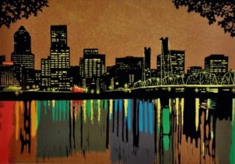 Multi color Woodblock print