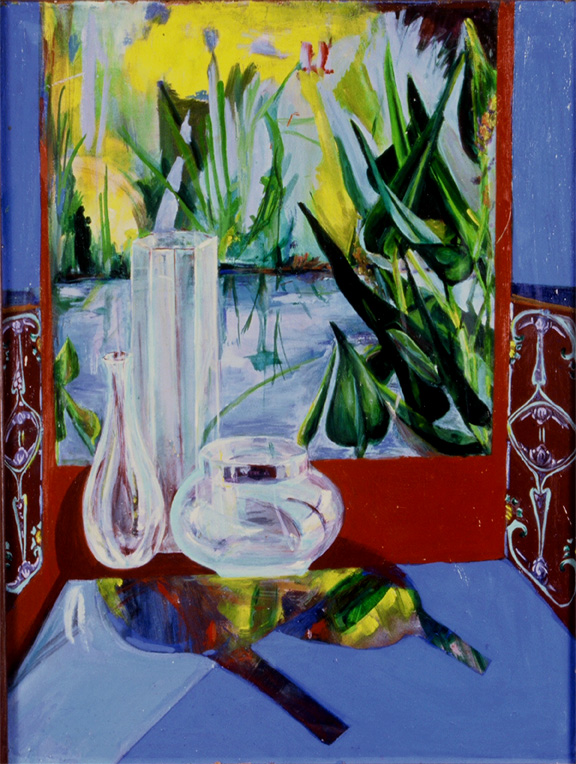 This oil still life painting has glass reflections and a view of a garden  I longed to visit.