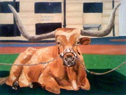 Bevo Acrylic Painting by Artist, Claire Casseb