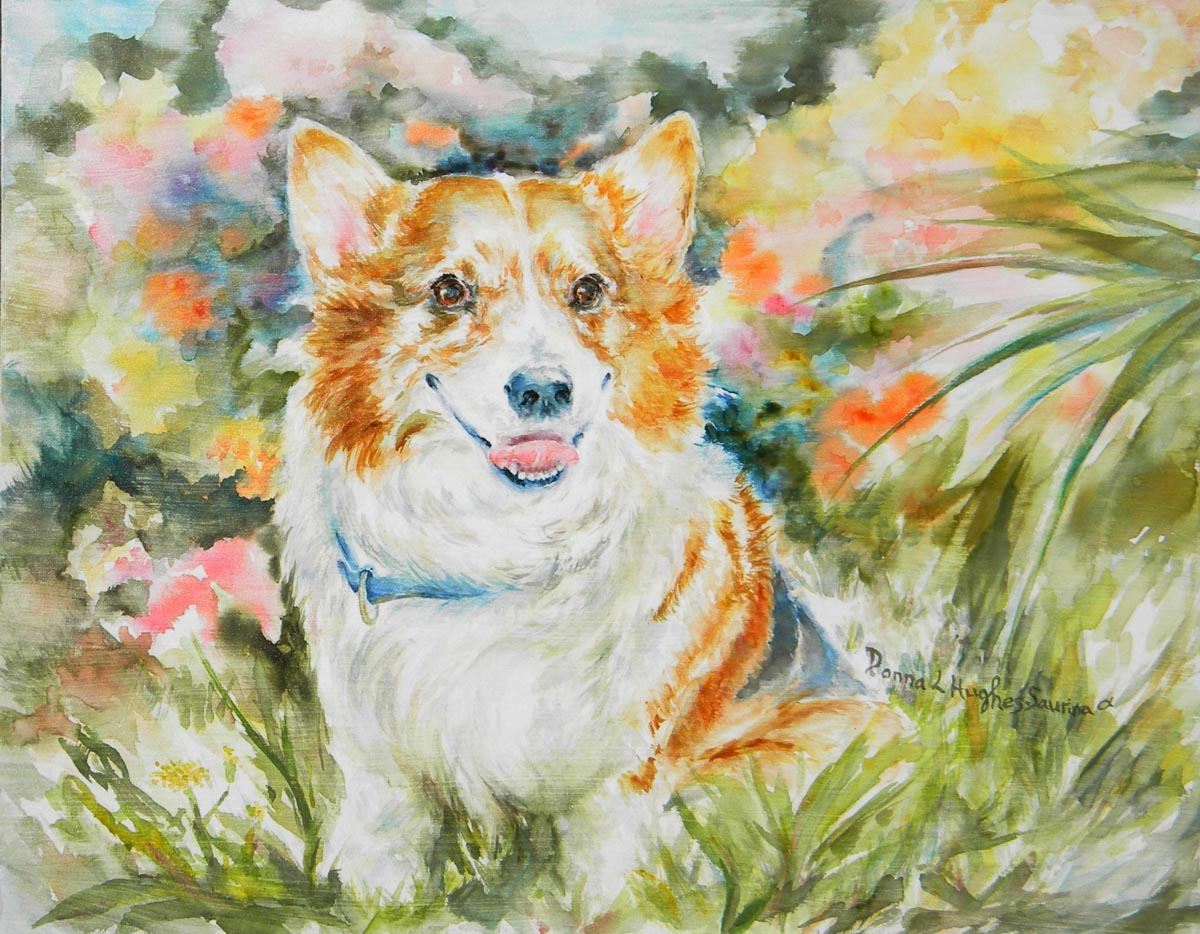 Lilli was a feisty Corgi with a great smile, painted here in her garden in watercolor on board