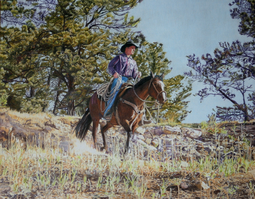A man riding horse on our ranch in NE Wyoming
