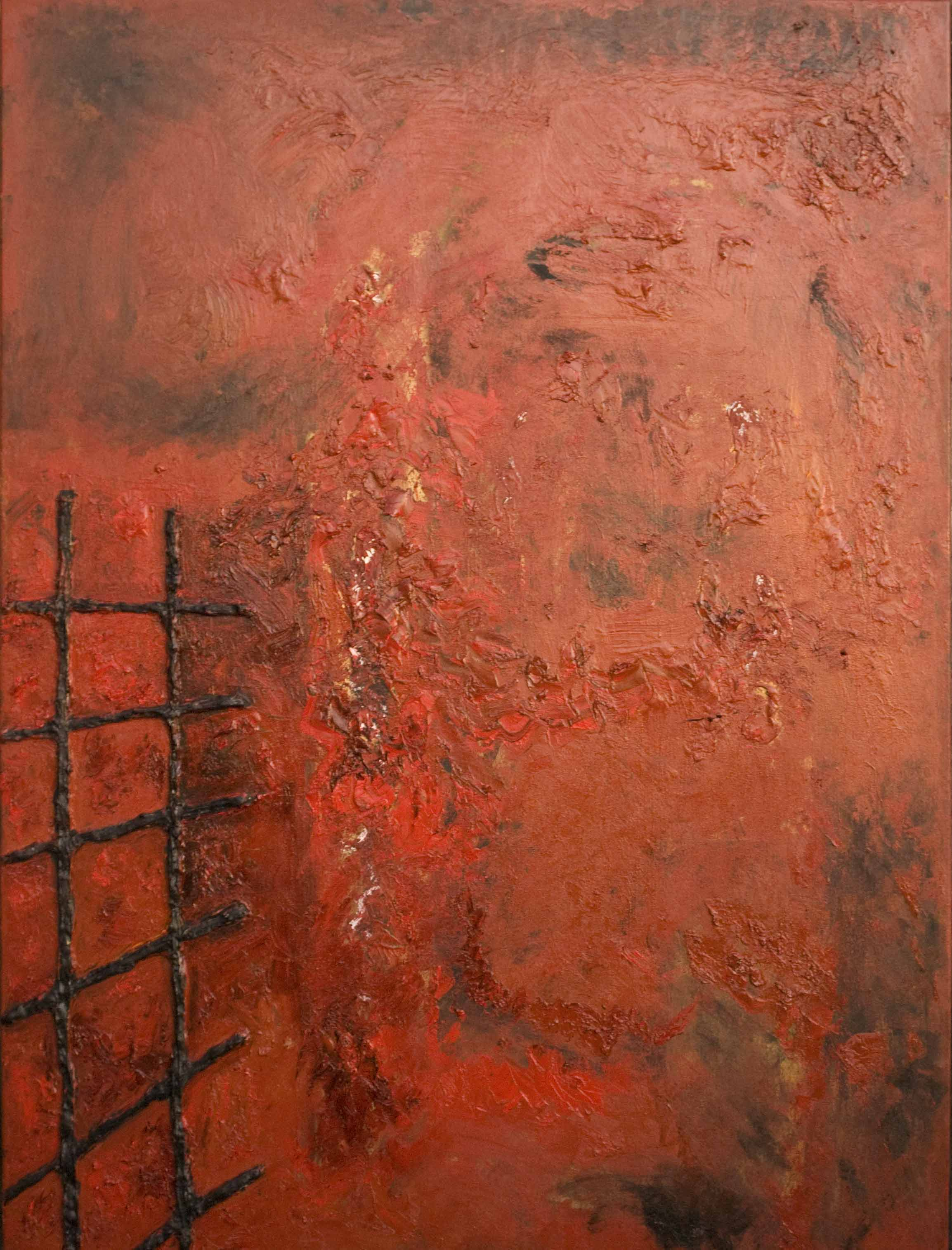 oil on canvasd deep red color field red and black stitches, dramatic
