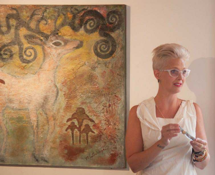 Dream Deer Heals, original painting by Eva Montealegre and WAAS GALLERY OWNER