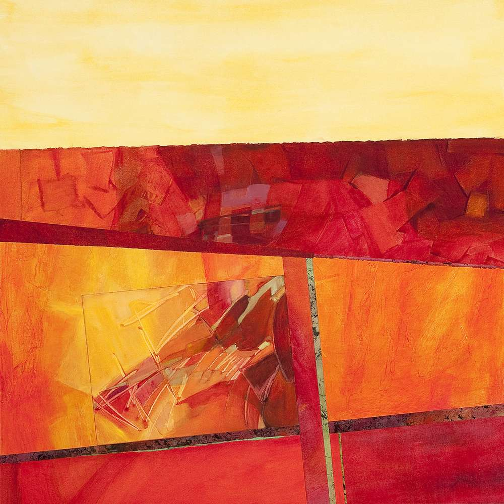 Abstract landscape in mixed media collage on panel by Ethel Hills in reds and yellows.
