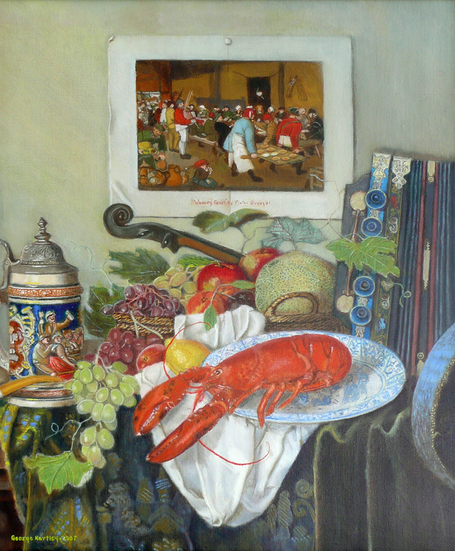 banquet still life with fruit and lobster
