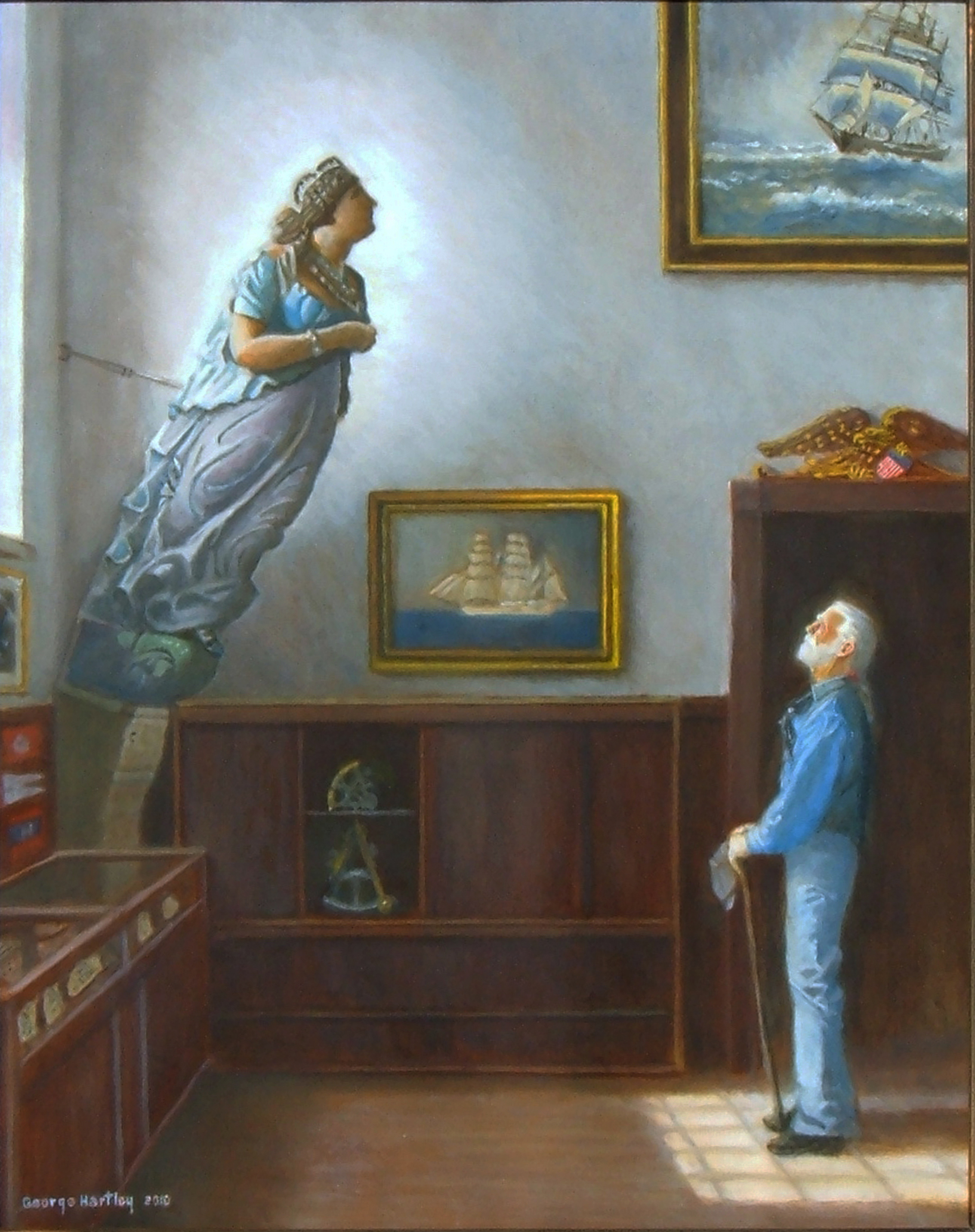 A whaler discovers the figurehead of his old ship in a maritime museum.