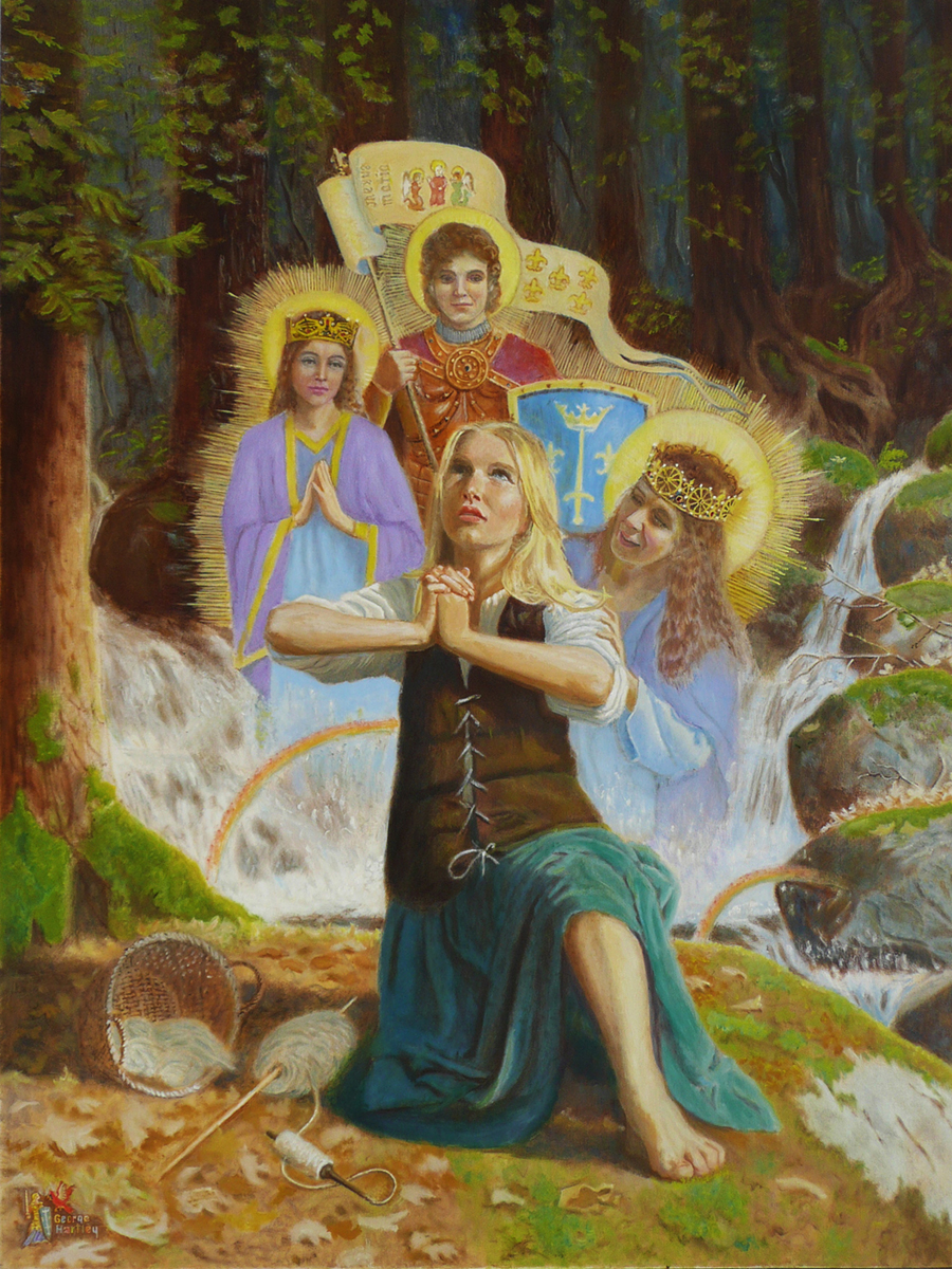 Joan of Arc visited by St. Michael and angels