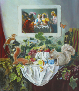 still life with animals and banquet table