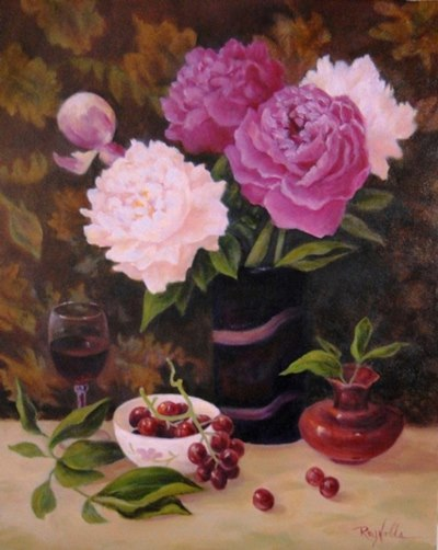 Still Life Painting With Peonies