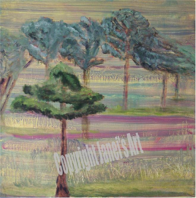 Painting TREE LINE IN COLOR LINES by Janei Folz w/Copyright