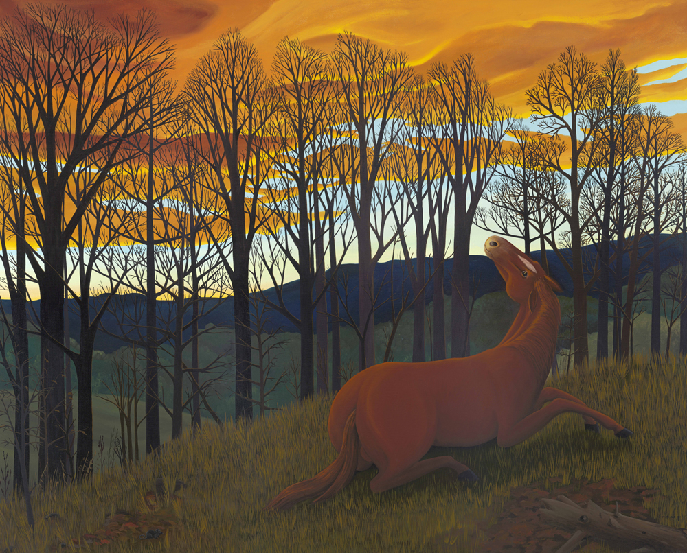 horse in woods with sunset