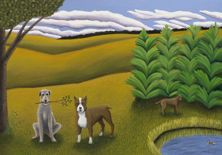 dogs & tree & pond