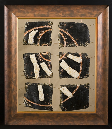 Stoneware, Copper leaf, Copper wire in stacked frame