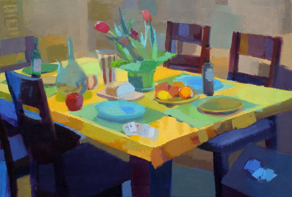 Representational oil painting of still life with yellow tablecloth by Massachusetts painter Jennifer O'Connell