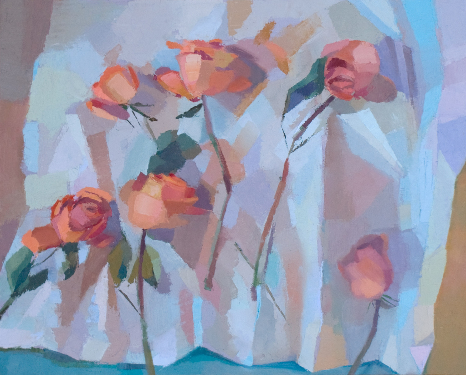 """oil painting by Jennifer O'Connell, """"Orange Roses"""""""