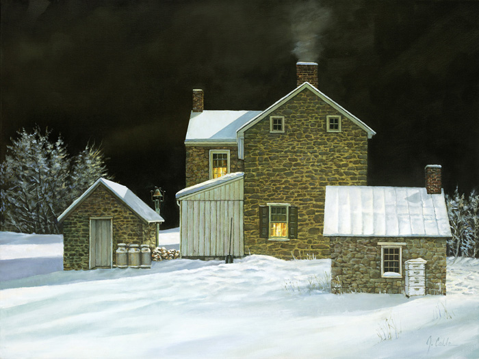 Oil painting of stone house