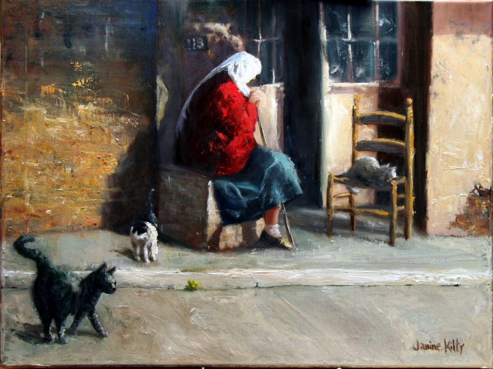 Genre scene features woman seated in doorway, with three cat companions.