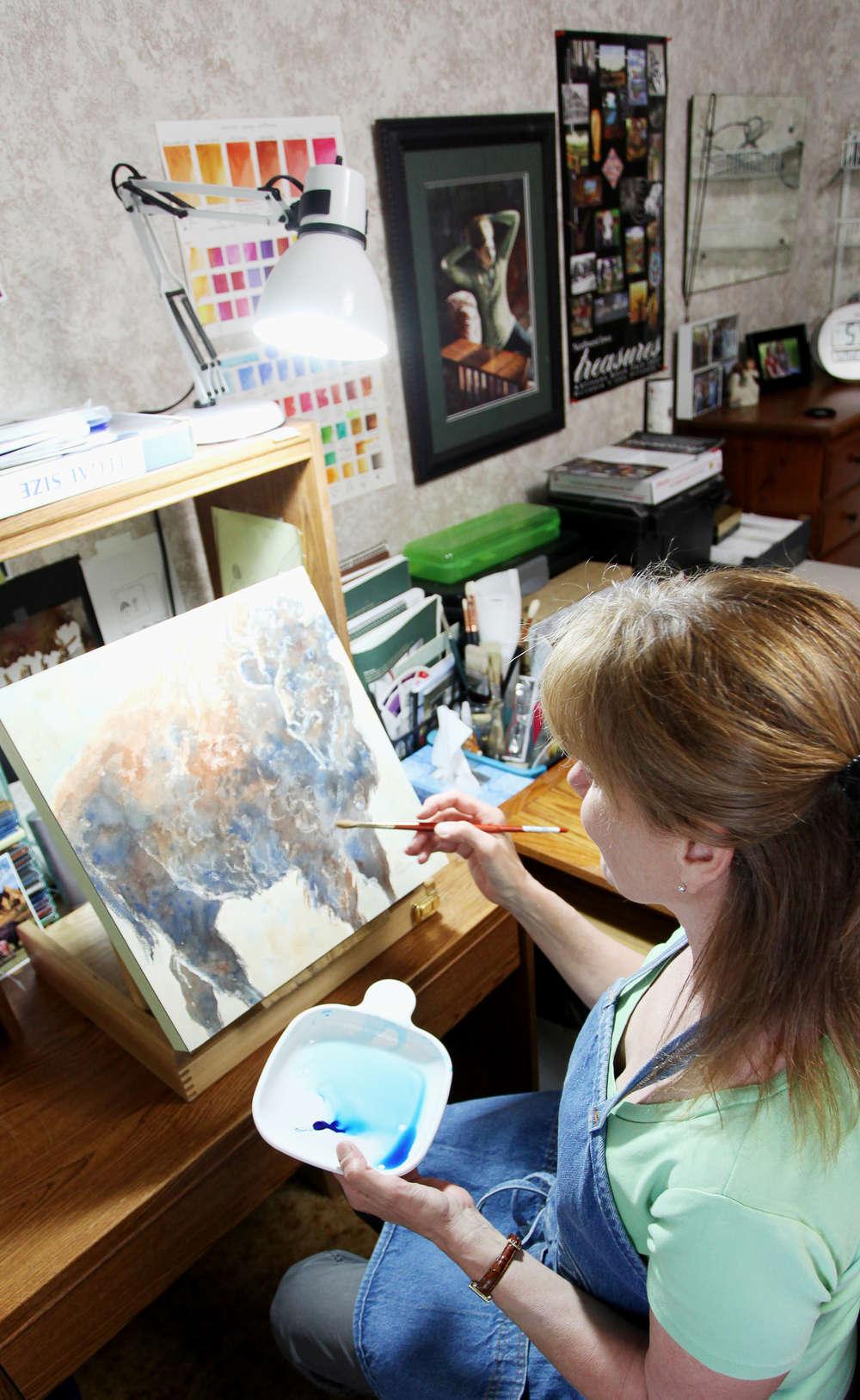 Judy at drawing board