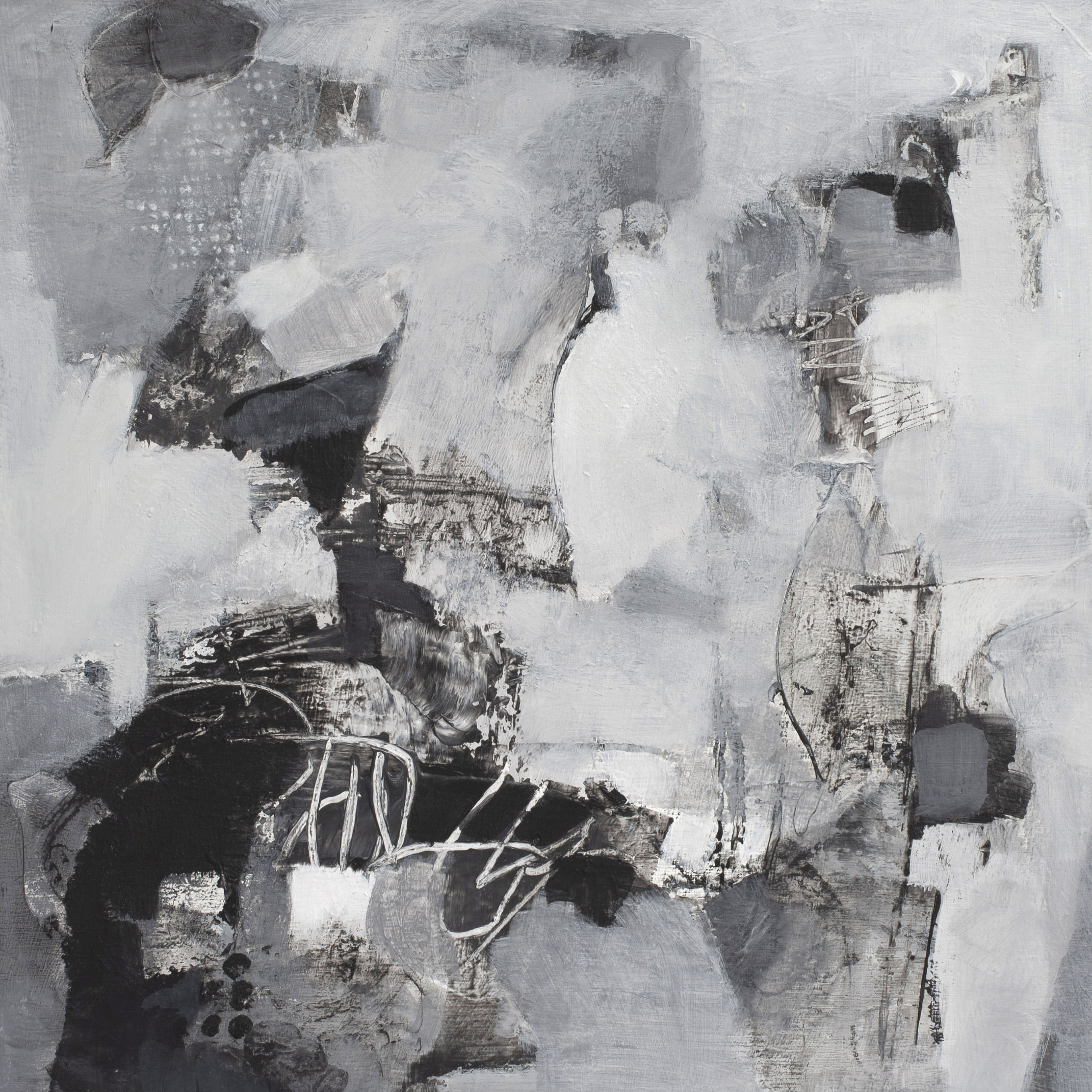 The Conversation is a black and white painting on panel