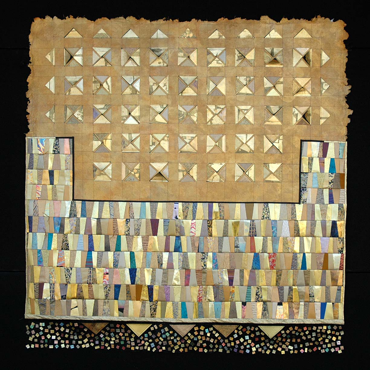 Paper, Silk and Gold Leaf sewn piecework
