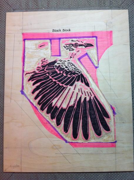 Mockingbird Black Block Partially Carved