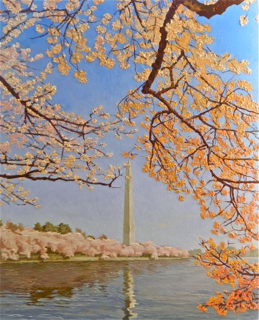 """Finished Painting """"Cherry Blossoms At The Tidal Basin"""" 2012"""