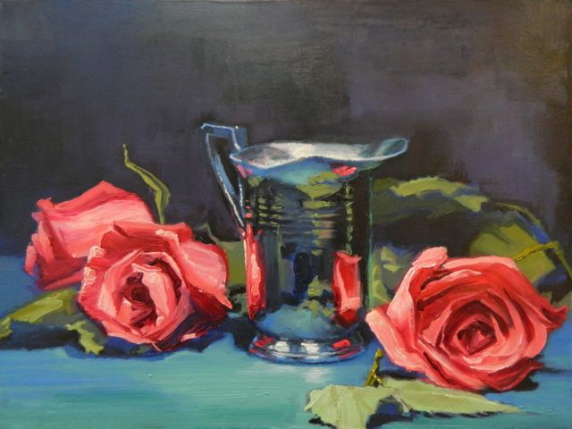 "our painting ""Flowers And Reflections"" showing three red roses and a silver milk pitcher"