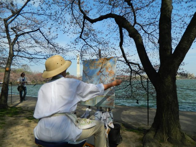"Michela Painting ""Cherry Blossoms on the Tidal Basin"" day 03"