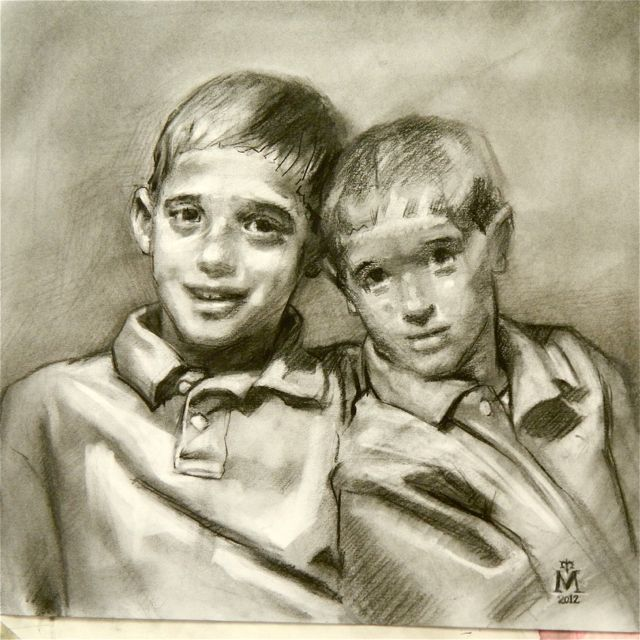 """Finished first charcoal study of """"Brothers"""" double portrait commission"""