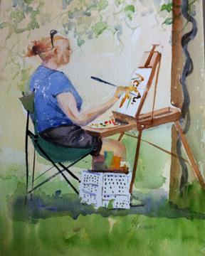Artist Painting by Heide Hallemeier