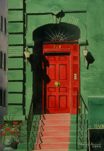 Red door, green building, beauty salon, home, peace