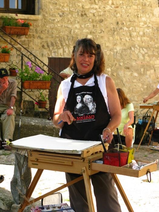 Nancy w Easel in Provence