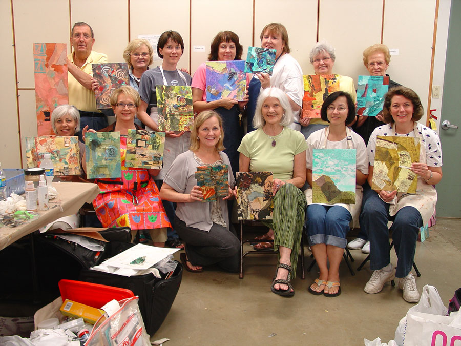 participants from Marlene Gremillion mixed media workshop