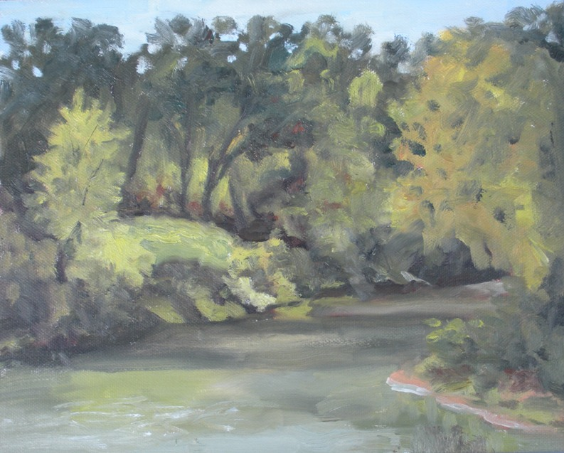 plein air painting of Elm Lake, Brazos Bend