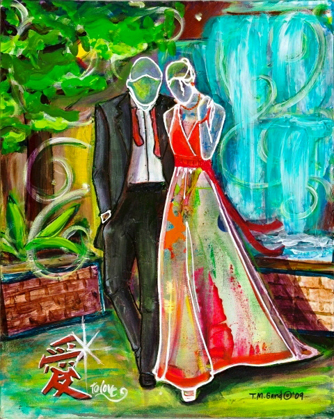 Bright acrylic painting of a couple on a date